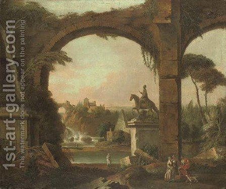 William Delacour: An architectural capriccio with Roman ruins and figures conversing in the foreground - reproduction oil painting