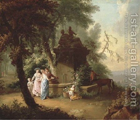 An extensive landscape with elegant company by a fountain in a wooded glade