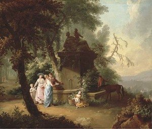 William Delacour reproductions - An extensive landscape with elegant company by a fountain in a wooded glade