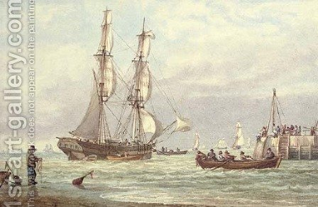 Brig off Yarmouth Harbour, Isle of Wight by William Joy - Reproduction Oil Painting