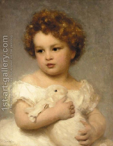 A young girl with her pet rabbit by William Robert Symonds - Reproduction Oil Painting