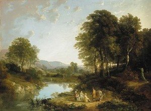 A wooded river landscape with figures in the foreground, traditionally identified as 'On the Teign'