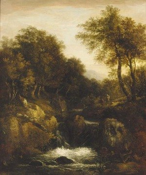 Anglers in a wooded river valley