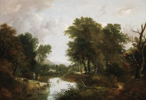 Figures in a wooded river landscape