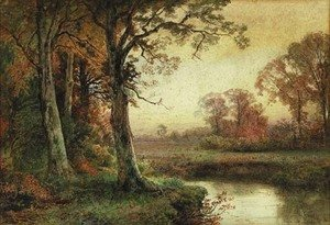 Reproduction oil paintings - William Trost Richards - Landscape with Stream in Autumn
