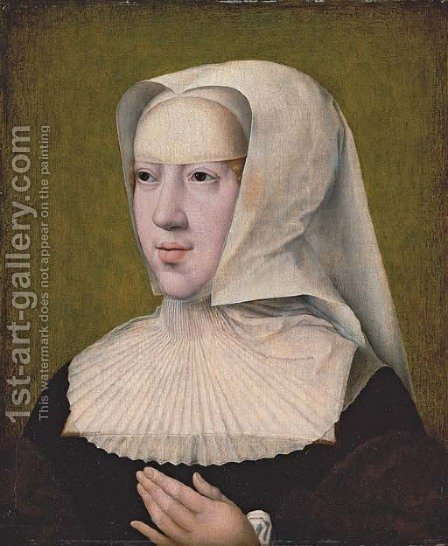 Portrait of the Archduchess Margaret of Austria (1480-1530) by (after) Bernard Van Orley - Reproduction Oil Painting