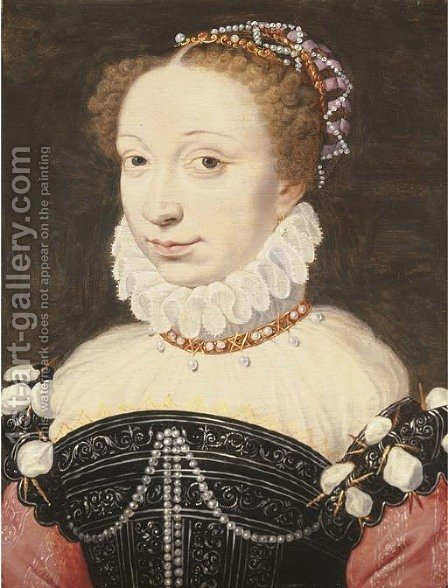 Portrait of a lady, possibly Jeanne d'Albret by (after) Clouet, Francois - Reproduction Oil Painting