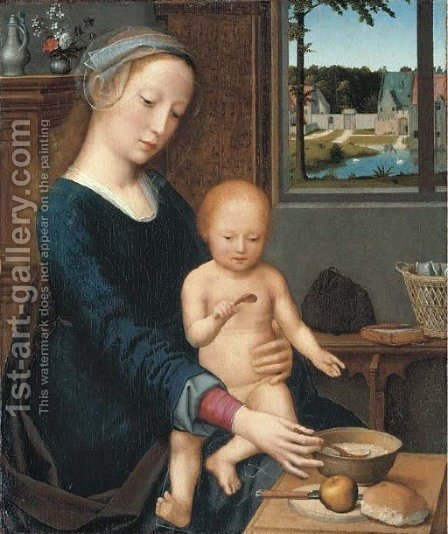 The Virgin and Child with the Milk Soup by (after) Gerard David - Reproduction Oil Painting