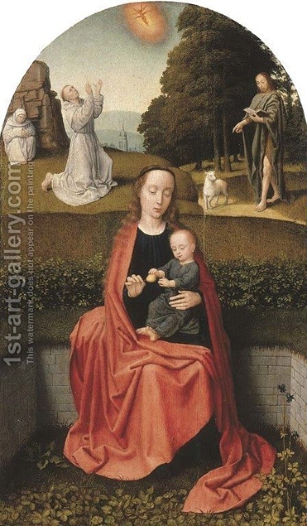 The Virgin and Child with the stigmatisation of Saint Francis of Assisi and Saint John the Baptist in the Wilderness by (after) Gerard David - Reproduction Oil Painting