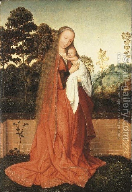 The Virgin and Child in a landscape by (after) Quinten Metsys - Reproduction Oil Painting