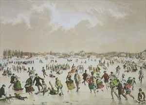 Famous paintings of Ice skating: Jamaica Pond, West Roxbury, Mass
