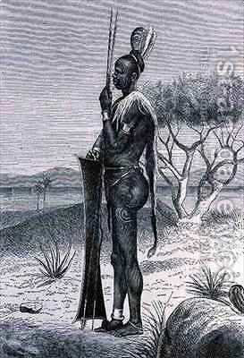 A tattooed Shuli negro with his weapons by (after) Buchta, Richard - Reproduction Oil Painting