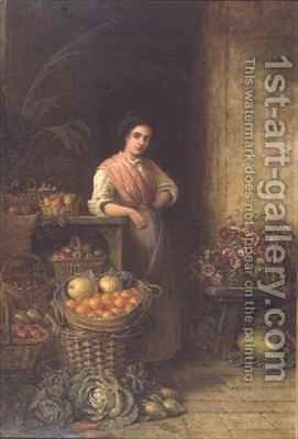 A Young Fruit Seller by Henry Charles Bryant - Reproduction Oil Painting
