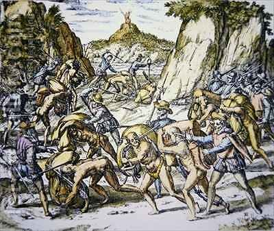 Conquistadors enslaving and beating native American baggage carriers by (after) Bry, Theodore de - Reproduction Oil Painting
