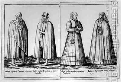 Sixteenth century Jewish clothing from 'Omnium Poene Gentium Imagines' by Abraham de Bruyn - Reproduction Oil Painting