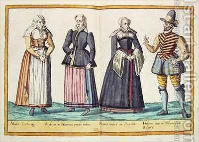 Sixteenth century costumes from 'Omnium Poene Gentium Imagines' 14 by Abraham de Bruyn - Reproduction Oil Painting