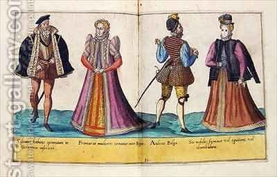 Sixteenth century costumes from 'Omnium Poene Gentium Imagines' 21 by Abraham de Bruyn - Reproduction Oil Painting