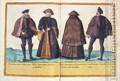 Sixteenth century costumes from 'Omnium Poene Gentium Imagines' 32 by Abraham de Bruyn - Reproduction Oil Painting