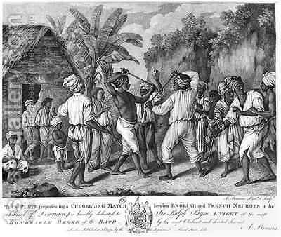 A Cudgelling Match between English and French Negroes on the Island of Dominica 2 by Agostino Brunias - Reproduction Oil Painting
