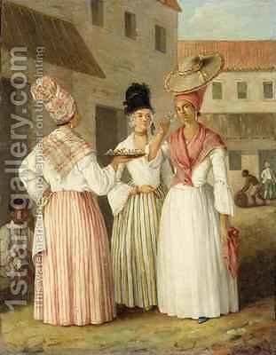 A West Indian Flower Girl and Two Other Free Women of Colour by Agostino Brunias - Reproduction Oil Painting