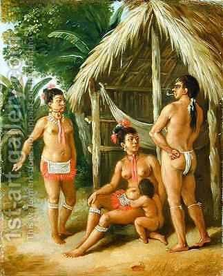 A Leeward Islands Carib Family outside a Hut by Agostino Brunias - Reproduction Oil Painting