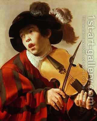 Boy Playing Stringed Instrument and Singing by Hendrick Ter Brugghen - Reproduction Oil Painting