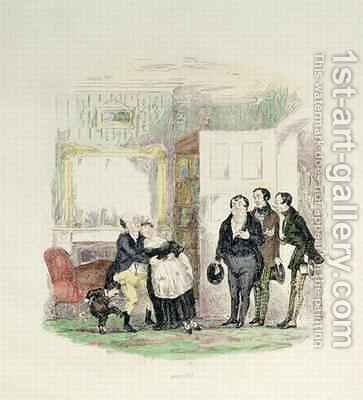 Mr Pickwick is found by his friends with Mrs Bardell in his arms by Hablot Knight Browne - Reproduction Oil Painting