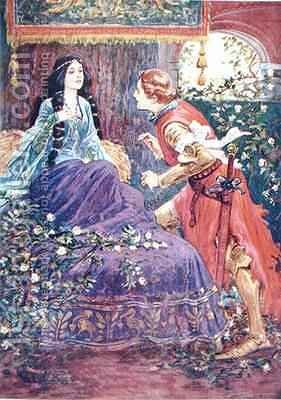 The Prince Awakens the Sleeping Beauty by (after) Browne, Gordon Frederick - Reproduction Oil Painting