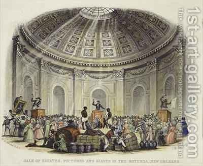 Sale of Estates, Pictures and Slaves in the Rotunda, New Orleans 2 by (after) Brooke, William Henry - Reproduction Oil Painting