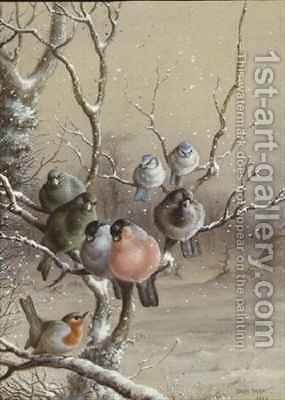 Birds on a Snowy Branch by Harry Bright - Reproduction Oil Painting