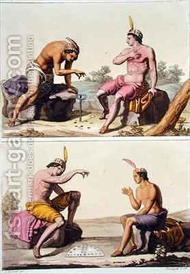 Indians playing Queciu (top) and Porotos (bottom) by (after) Bramati, G. - Reproduction Oil Painting