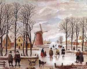 Famous paintings of Ice skating: Dutch Winter Scene
