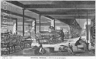 The printing presses room of the Imperial Printing Works by (after) Bourdelin, Emile - Reproduction Oil Painting