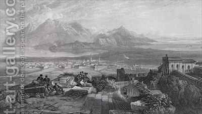 Town and Isthmus of Corinth seen from the Acropolis by (after) Samuel Bough - Reproduction Oil Painting