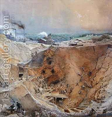 Opencast Mining at Vieille Montagne, Saone et Loire by Ignace Francois Bonhomme - Reproduction Oil Painting