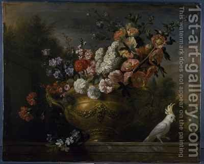 Still life with flowers in an urn, with a cockatoo, on a ledge by (after) Boggi, Giovanni - Reproduction Oil Painting