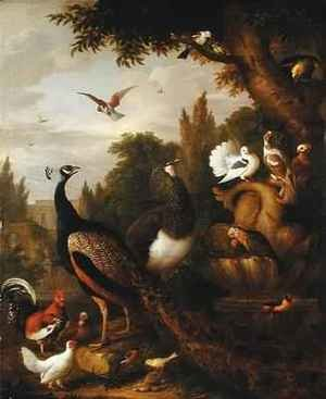 Neo-Classical painting reproductions: Peacock, peahen, parrots, canary, and other birds in a park