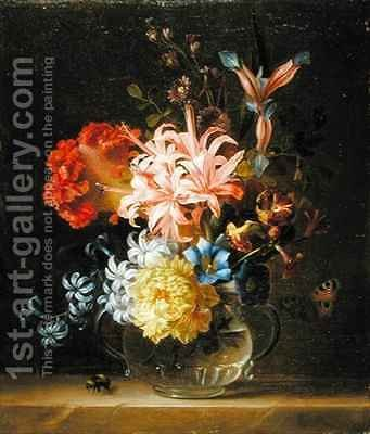 Still Life of Flowers in a Glass Vase, with a Bumble Bee and a Butterfly by (after) Boggi, Giovanni - Reproduction Oil Painting