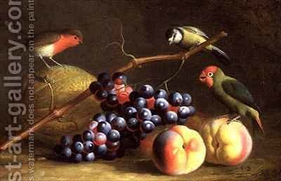 Three Birds with Peaches, Grapes and a Melon by (after) Boggi, Giovanni - Reproduction Oil Painting