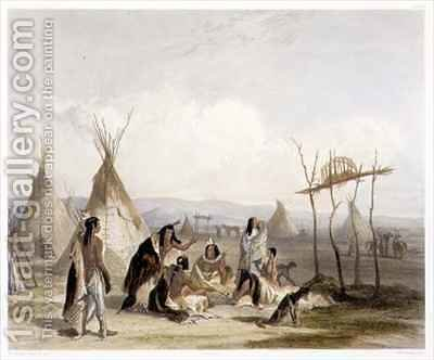 Funeral Scaffold of a Sioux Chief near Fort Pierre by (after) Bodmer, Karl - Reproduction Oil Painting