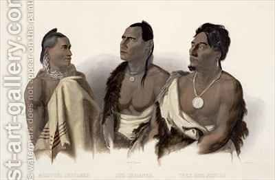 A Missouri Indian, an Oto Indian and the Chief of the Puncas by (after) Bodmer, Karl - Reproduction Oil Painting