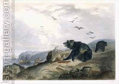 Hunting of the Grizzly Bear by (after) Bodmer, Karl - Reproduction Oil Painting