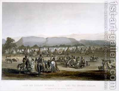 Encampment of the Piekann Indians by (after) Bodmer, Karl - Reproduction Oil Painting