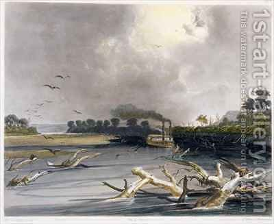 Snags (sunken trees) on the Missouri by (after) Bodmer, Karl - Reproduction Oil Painting