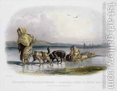 Dog-Sledges of the Mandan Indians 2 by (after) Bodmer, Karl - Reproduction Oil Painting