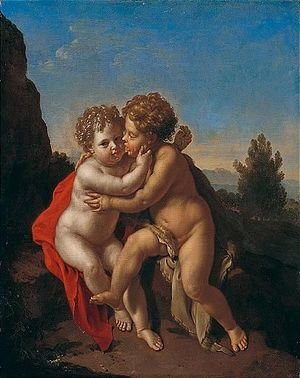 The Infant Christ And The Infant Saint John The Baptist Playing In A Mountainous Landscape