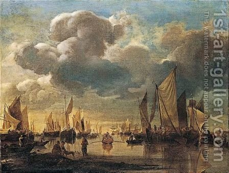 Dutch Shipping Offshore In A Calm, With A Dignitary Being Conveyed In A Rowing Boat To A States Yacht by Hendrik Jakobsz. Dubbels - Reproduction Oil Painting