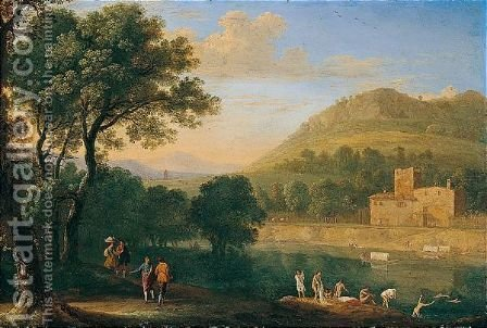An Italianate River Landscape With Figures Bathing by Herman Van Swanevelt - Reproduction Oil Painting