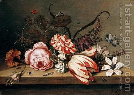 A Still Life Of A Rose, Tulip, Marigold, Columbine And Anemone, With Caterpillars And Flies On A Table Top by Ambrosius The Younger Bosschaert - Reproduction Oil Painting