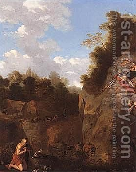 An Italianate Landscape With Saint Jerome At Prayer by (after) Jan Van Haensbergen - Reproduction Oil Painting